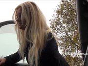 Amateur blonde Jakki flashes in her car