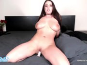 angela white spitting on huge tits and squirting with dildo vibrator combo