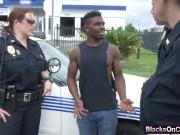 Slutty cops riding black thief cock in truck