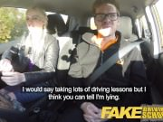Fake Driving School big tits hairy pussy student squirt and creampie