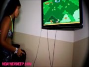 heather Deep playing super mario brother gets deepthroat throatpie