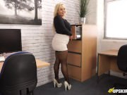 Your new Colleague Jem encourages you to WANK over her short skirt!
