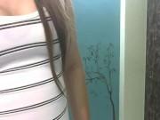 sexy shemale MILF in mini dress stroking