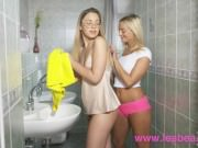 Lesbea Sexy blonde lesbians eating pussy in the bathroom and bedroom