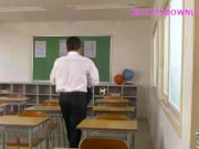 Asian teacher with gigantic tits making a blowjob